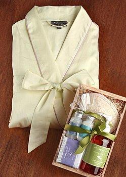 fine cotton bathrobe and spa kit