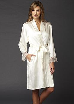 luxury silk short bathrobe