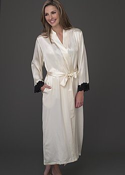 Full length silk robe
