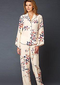 luxurious silk print pajamas