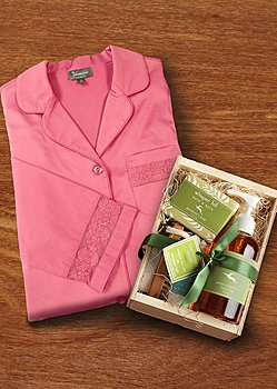 luxury sleep shirt and spa kit