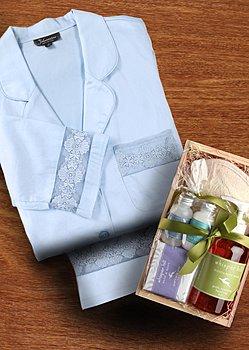 luxury cotton pj and spa kit
