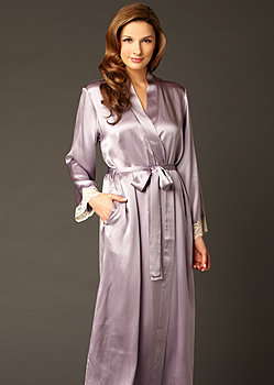 full length silk bathrobe