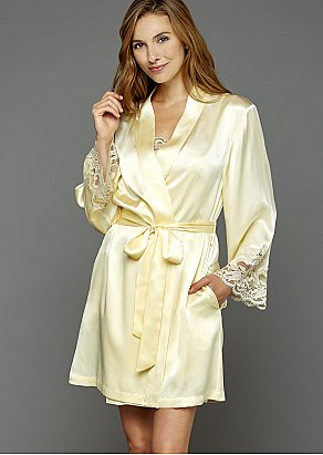 Moonlight Serenade Silk Short Robe