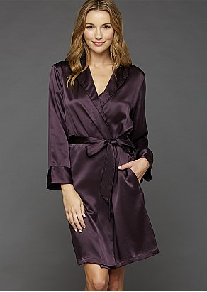 The Solid Splendid Silk Short Robe