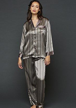 Garbo Striped Silk Pajama