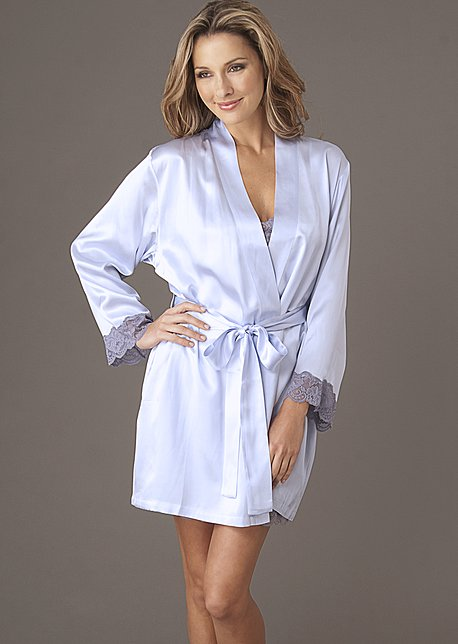 Le Tresor Silk Wrap - Luxury Short Robe