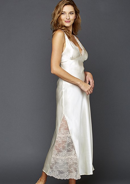 Allura Long Gown - Silk Nightgown with Lace