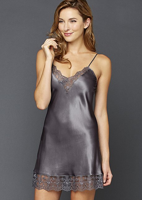 Le Soir Silk Chemise - Laced Neck Nightgown