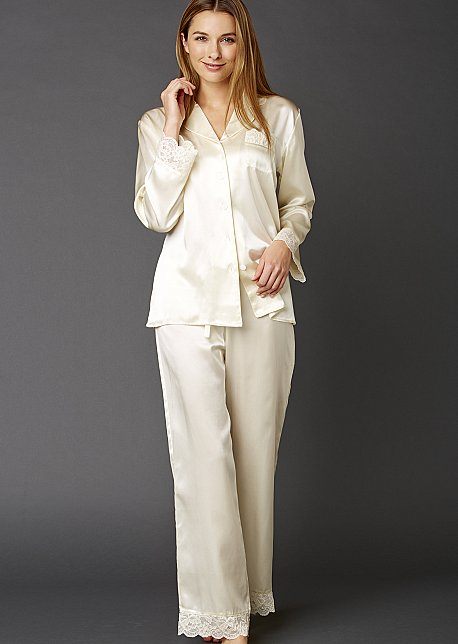 Serendipity Pure Silk Pajama - Lace Trimmed