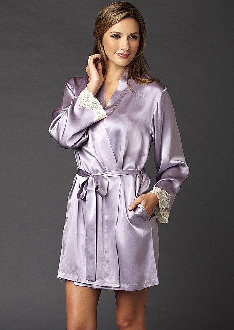 Indulgence Silk Wrap - Luxury Short Robe with Lace