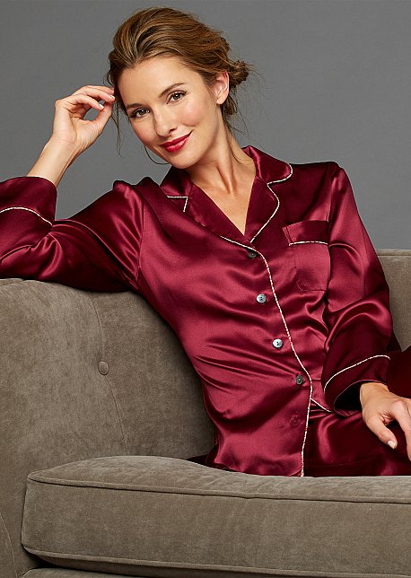 Paradise Found Silk Button-Up Pajamas