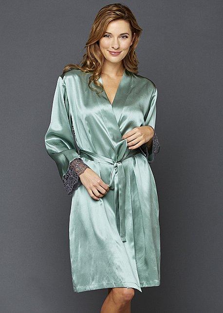 Bonsoir Silk Wrap - Luxury Short Silk Robe