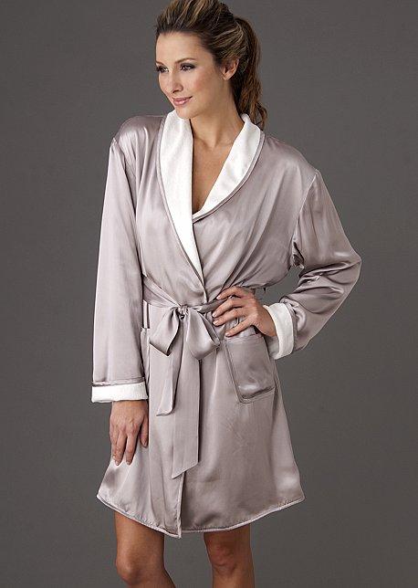Il Cieli Spa Wrap - Short Spa Robe, Silk Reversible Robe