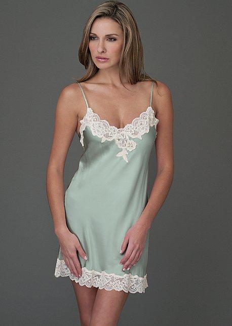 Le Tresor Silk short nightgown, silk full slip