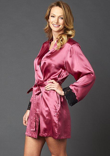 Le Tresor Silk Wrap - Luxurious Short Silk Robe