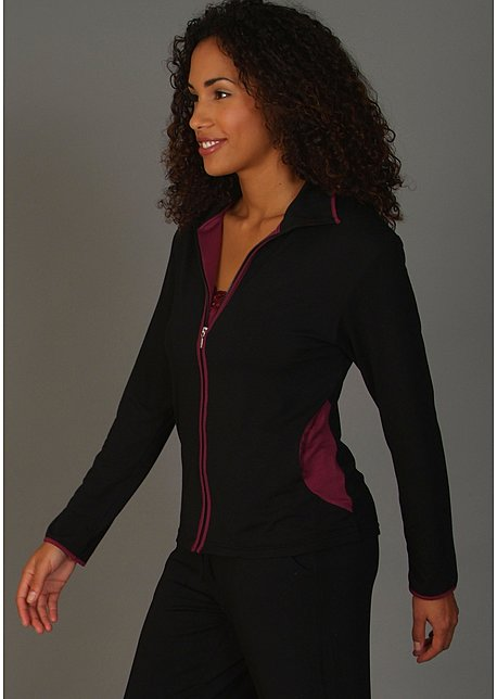 Long sleeve micromodal zip up jacket