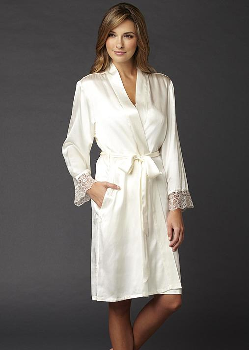 Bonsoir Silk Wrap, Luxury silk short robe