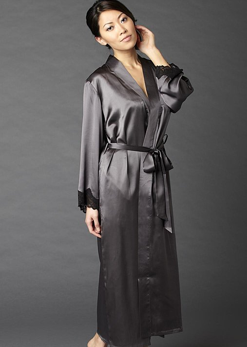 Aviana Silk Robe, luxury long silk robe