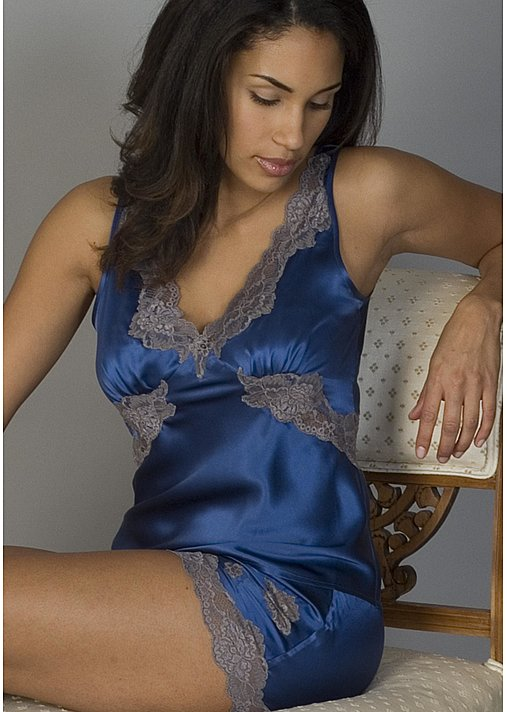 Fine luxurious silk camisole top with lace