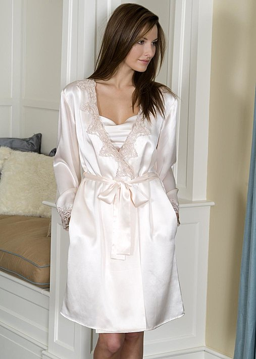 Luxury Silk Short Bath Robe, Silken Jewel silk wrap