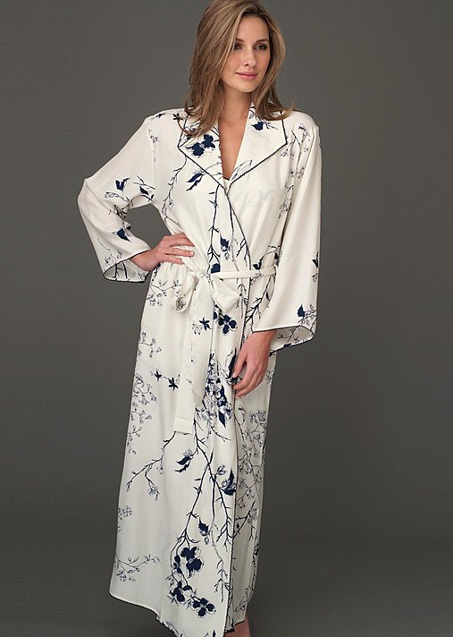 Midnight fine silk robe in print and solid