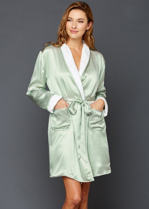 Il Cieli Spa Wrap - Short Spa Robe, Silk Reversible Robe