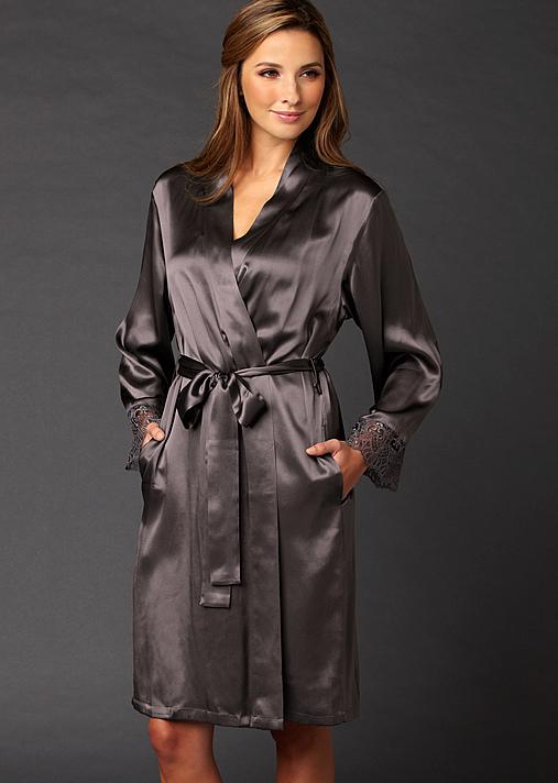 Bonsoir Silk Wrap, Luxury silk short robe