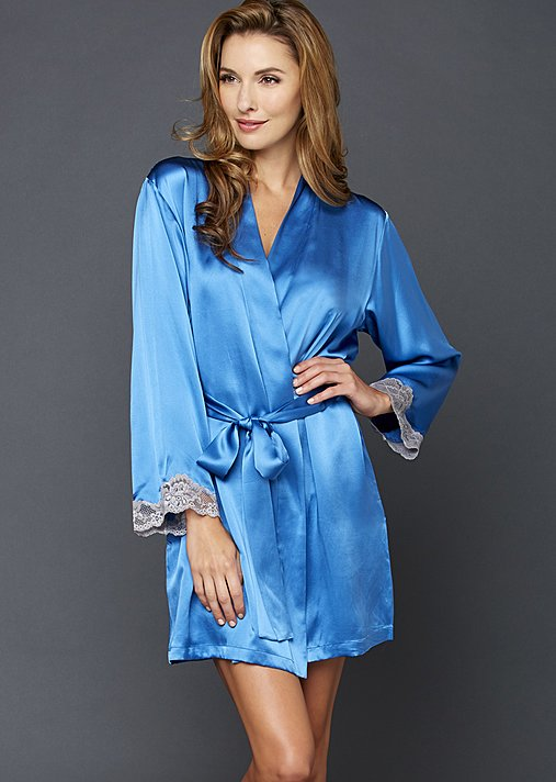 Indulgence Silk Wrap - Luxury Women's Short Robe