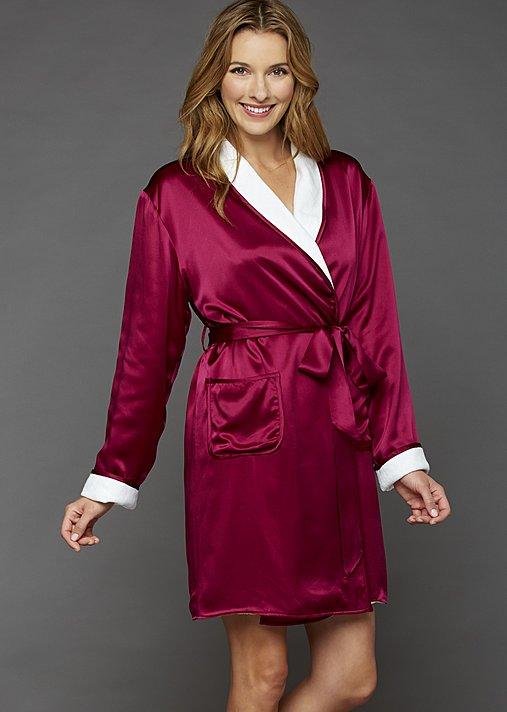Il Cieli Spa Wrap - 100 pct Silk Robe, Women's Short Robe