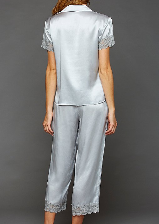 b10af20f1bf121 Tresor Delice Silk Button-Up Pajamas - Lace Trimmed