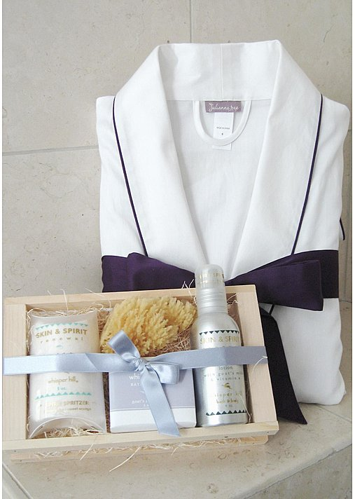 Harmony Cotton Short Robe and Spa Gift Basket