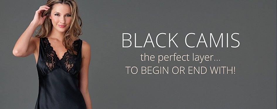 Sexy Black Silk and Lace Designer Camis
