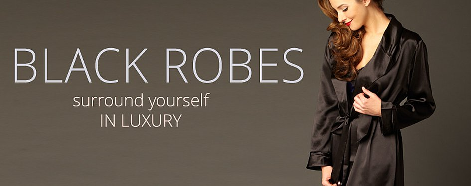 Black Silk Robes, Luxury Bathrobes